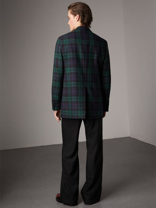 Tartan Wool Tailored Jacket in Bright Navy - Men | Burberry - cell image 2
