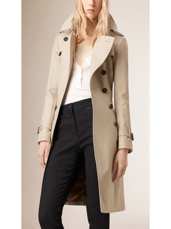 Cotton Gabardine Trench Coat in Stone - cell image 3
