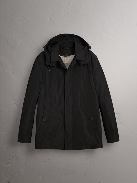 Showerproof Hooded Jacket with Removable Warmer in Black - Men | Burberry Canada - cell image 3