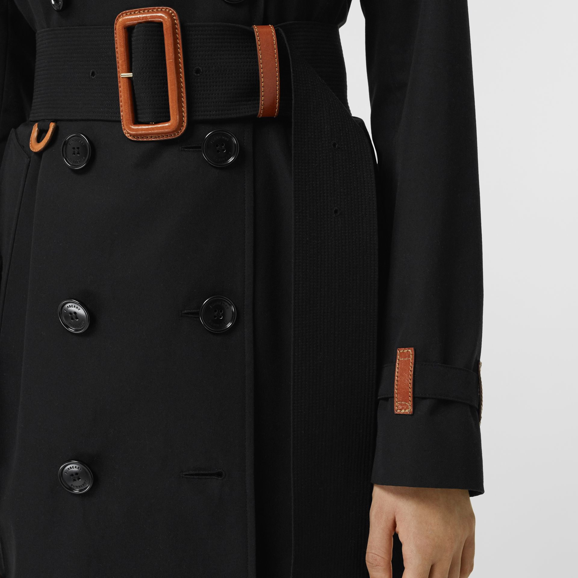 Leather Detail Cotton Gabardine Trench Coat in Black - Women | Burberry Australia - gallery image 4