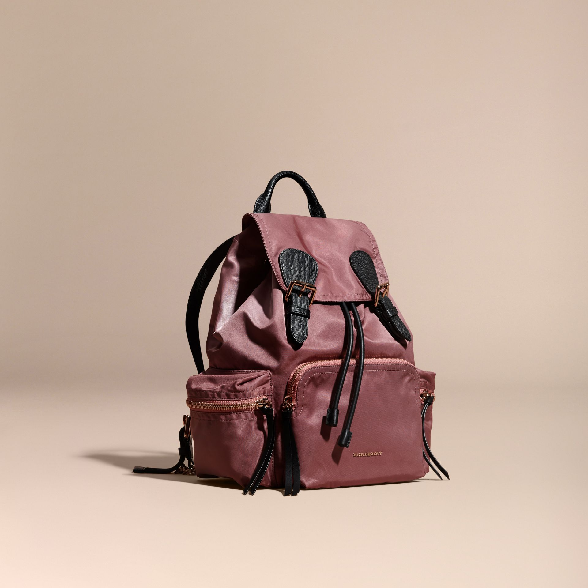 Mauve pink The Medium Rucksack in Technical Nylon and Leather Mauve Pink - gallery image 1