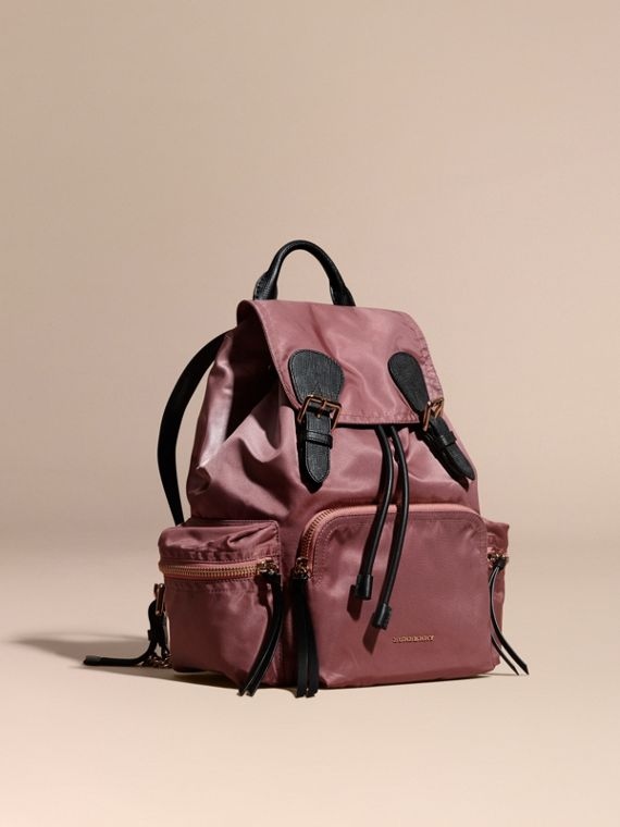 Sac The Rucksack medium en nylon technique et cuir Rose Mauve