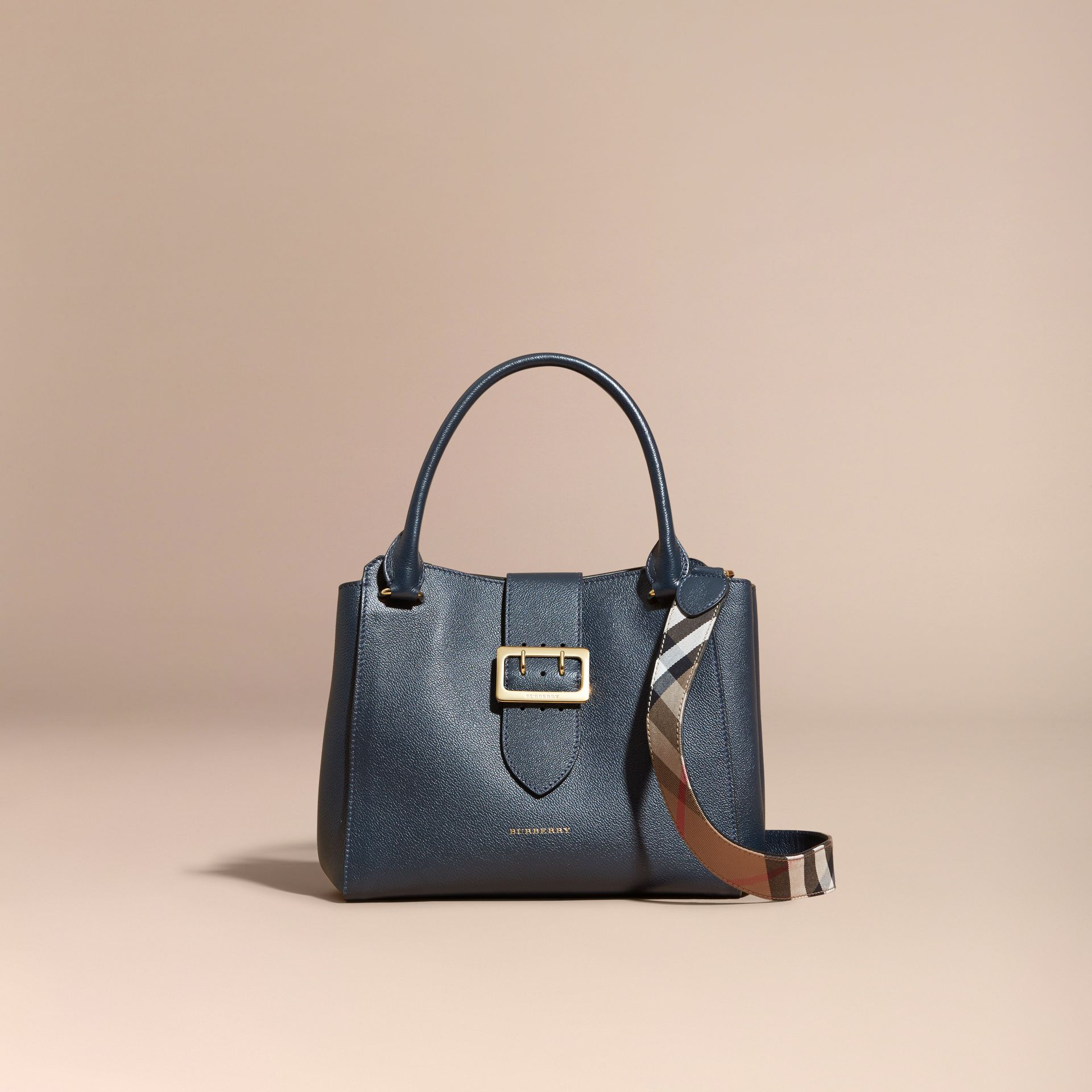 The Medium Buckle Tote in Grainy Leather Blue Carbon - gallery image 9