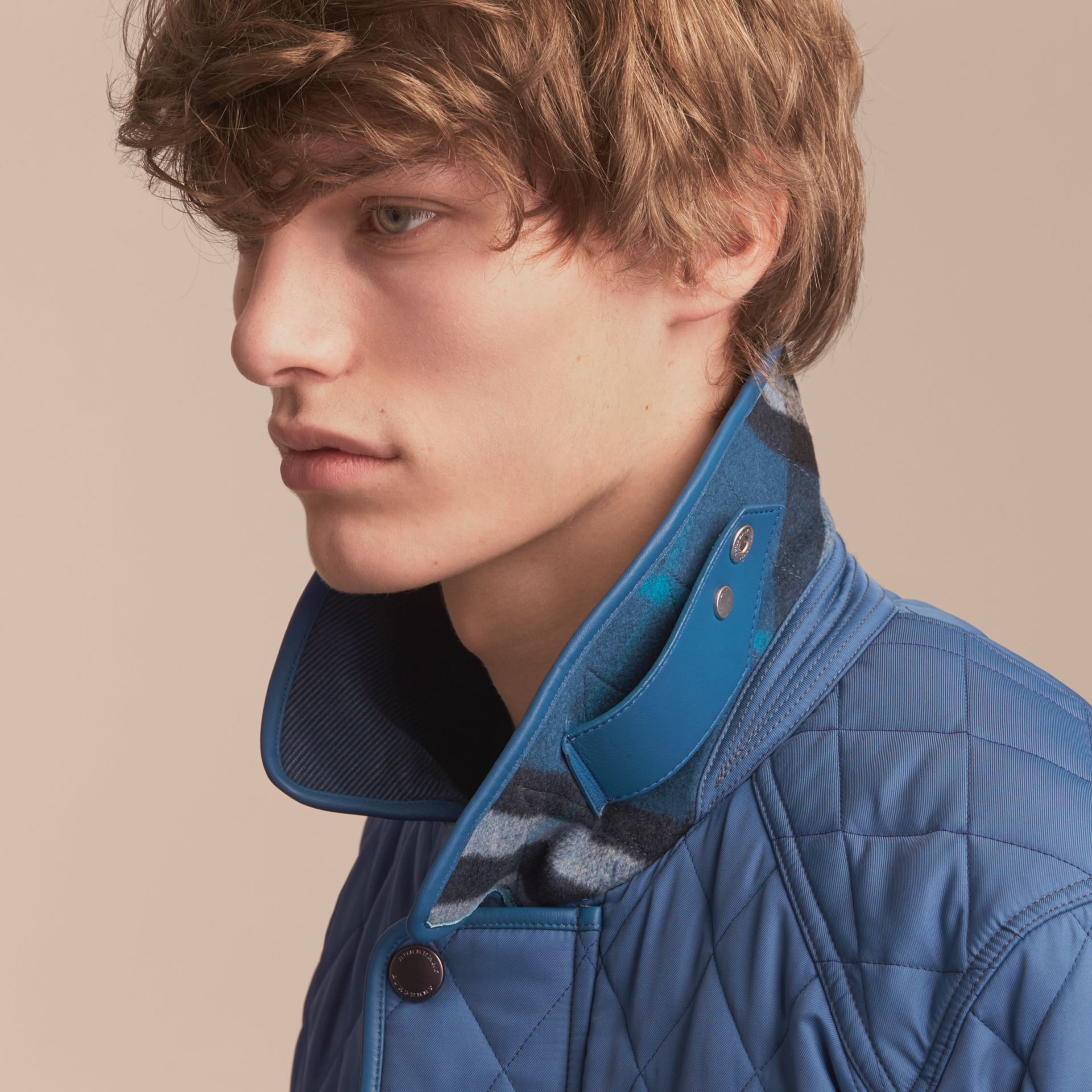 Diamond Quilted Jacket with Leather Trim - gallery image 5