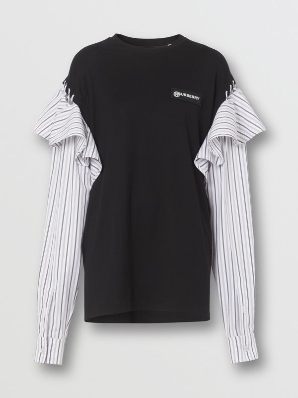 Contrast Sleeve Ruffle Detail Cotton Top in Black - Women | Burberry - cell image 3