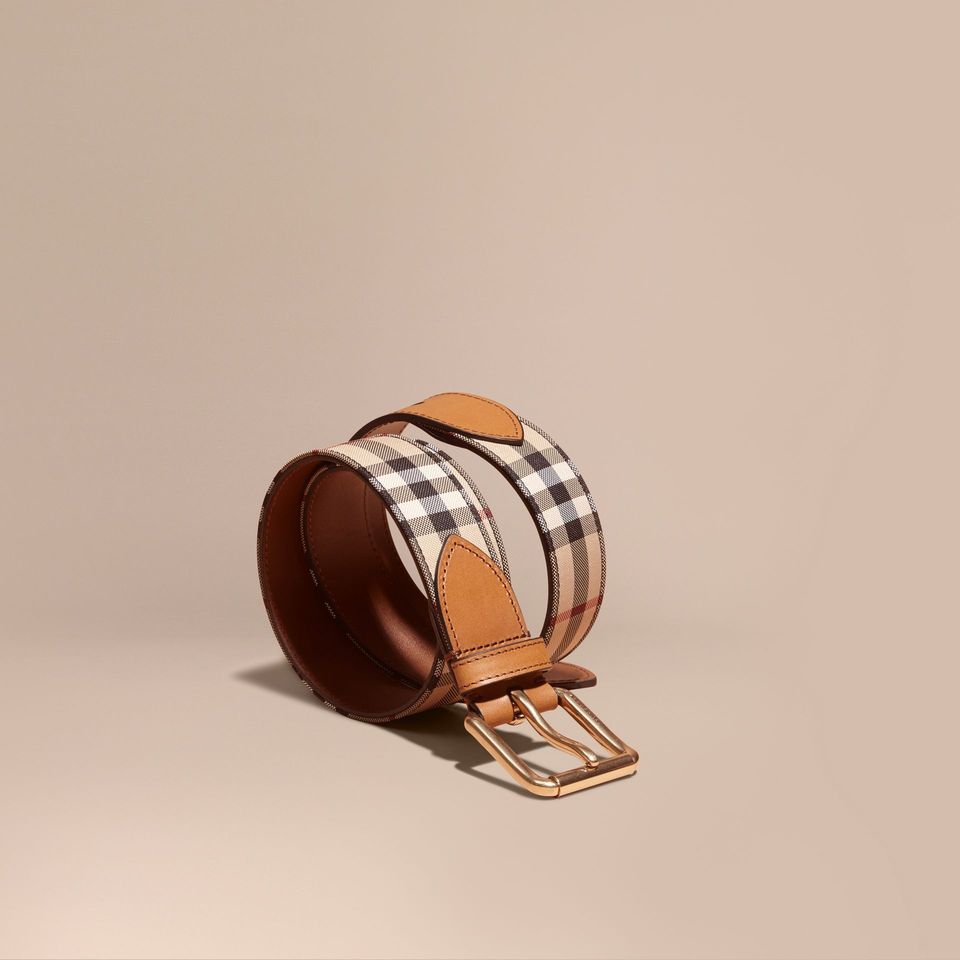 Horseferry Check and Leather Belt in Tan - Men | Burberry Australia - gallery image 1