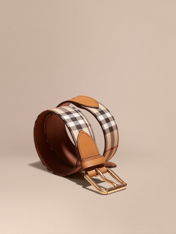 Horseferry Check and Leather Belt in Tan - Men | Burberry Australia