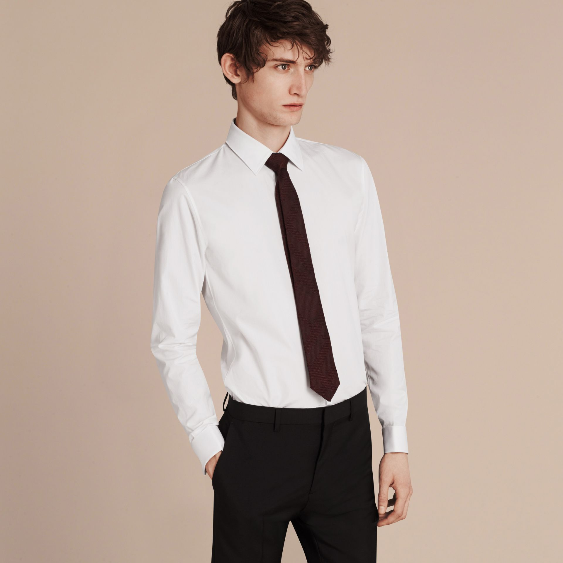 White Slim Fit Double-cuff Cotton Poplin Shirt - gallery image 6