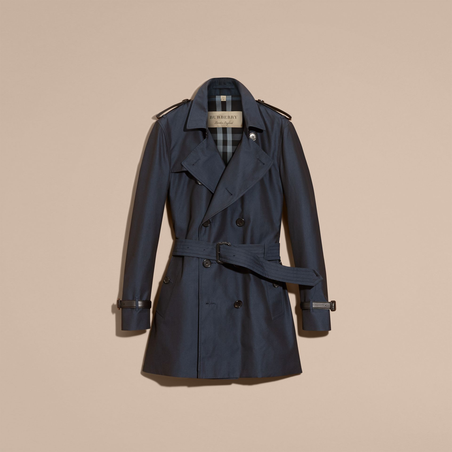 Leather Detail Cotton Gabardine Trench Coat - Men | Burberry - gallery image 4