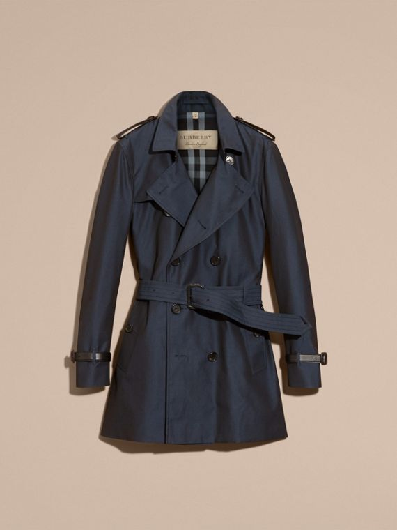 Leather Detail Cotton Gabardine Trench Coat - cell image 3