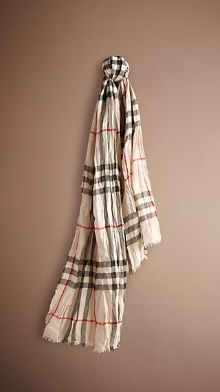 Heritage Check Crinkled Cashmere Scarf