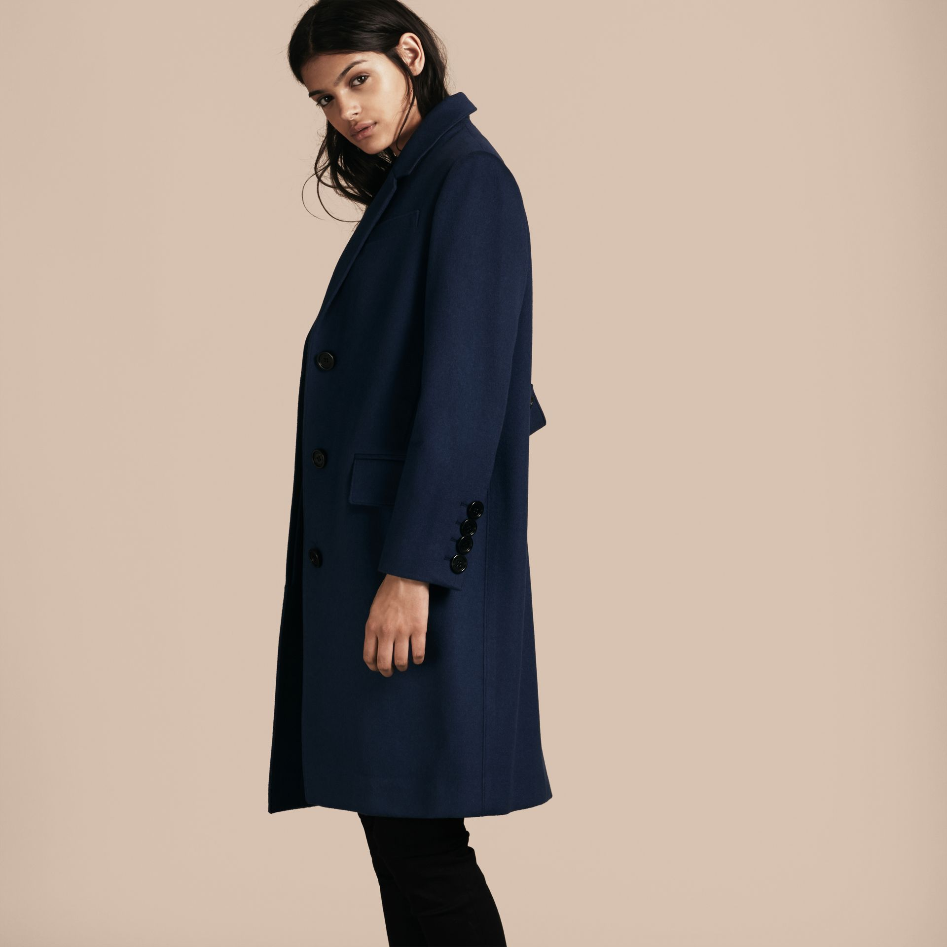 Bright navy Cashmere Tailored Coat Bright Navy - gallery image 3