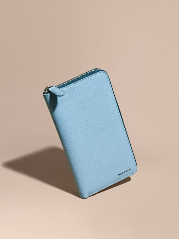 London Leather Ziparound Wallet Powder Blue