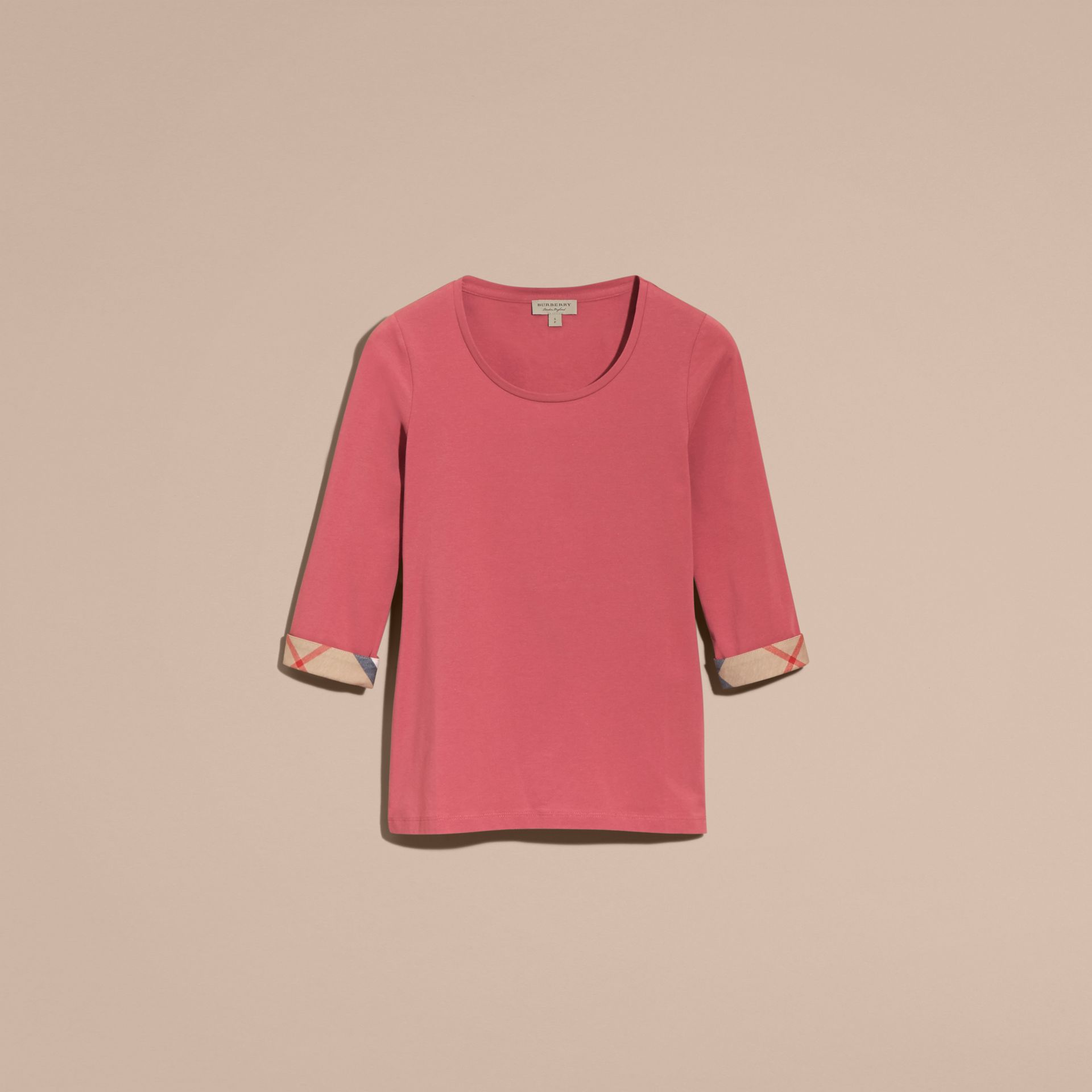 Three-quarter Sleeved Stretch Cotton T-shirt with Check Trim Pink Azalea - gallery image 4