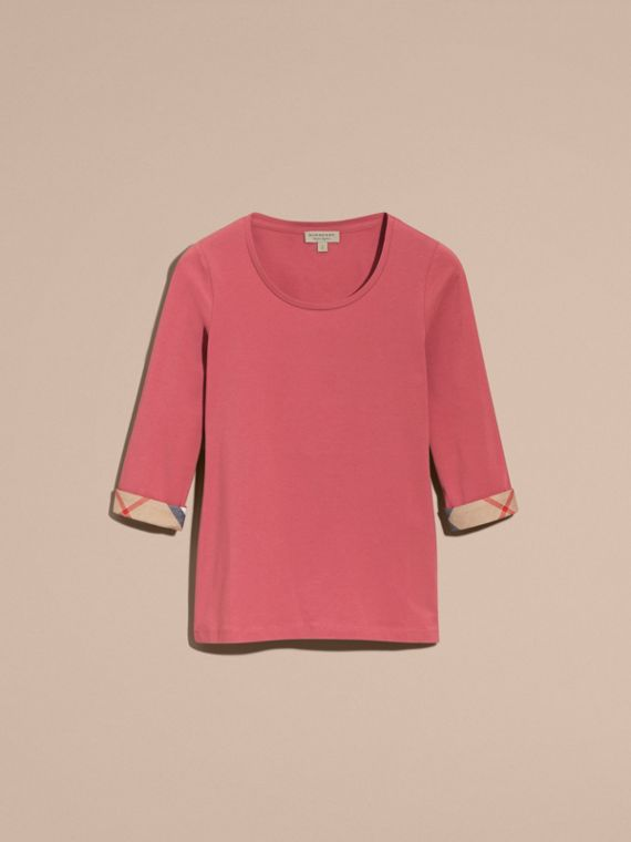 Three-quarter Sleeved Stretch Cotton T-shirt with Check Trim Pink Azalea - cell image 3
