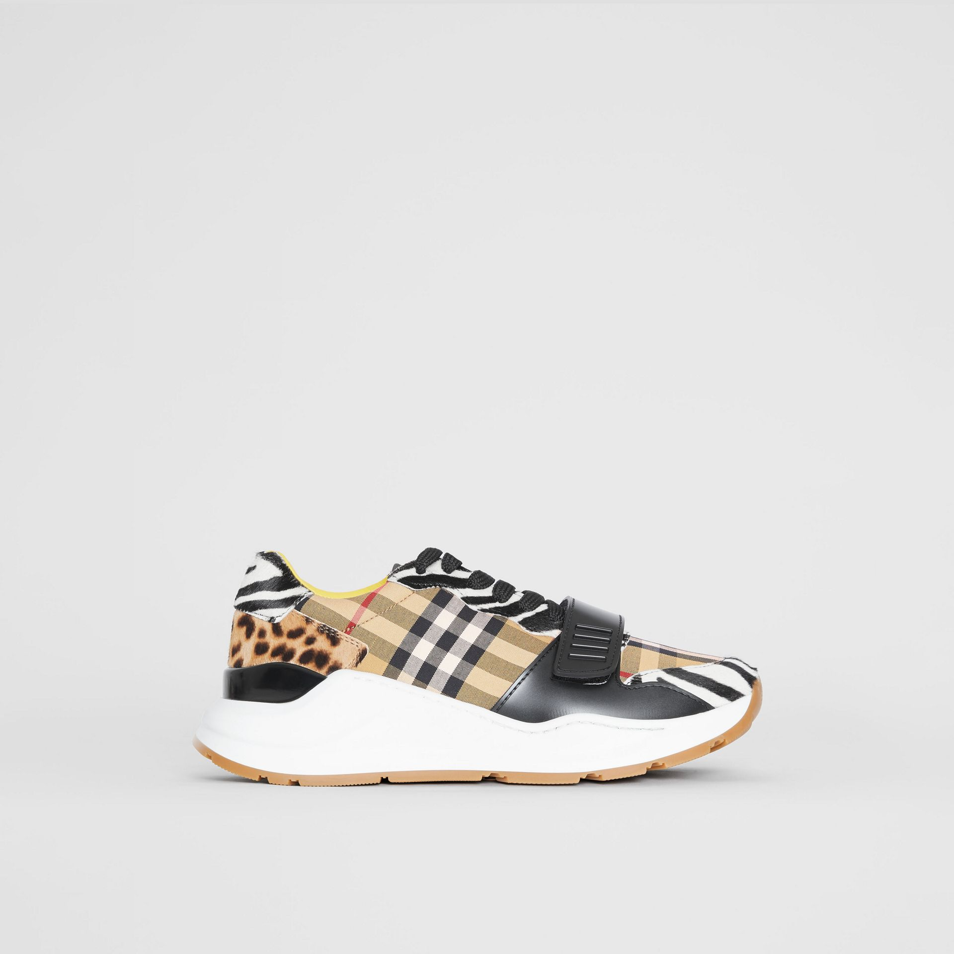 Animal Print and Vintage Check Sneakers in Antique Yellow - Women | Burberry Australia - gallery image 5