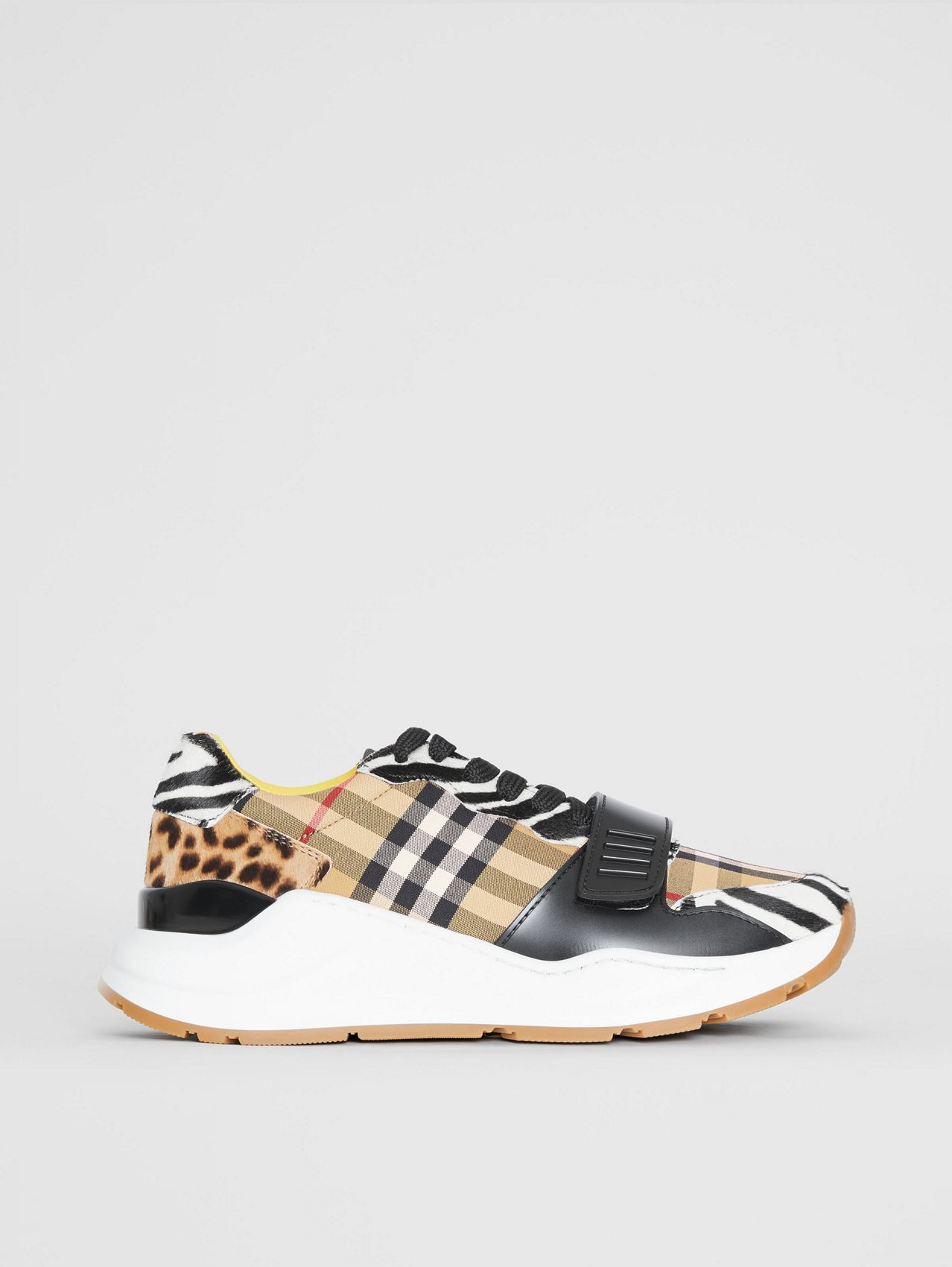 Animal Print and Vintage Check Sneakers in Antique Yellow