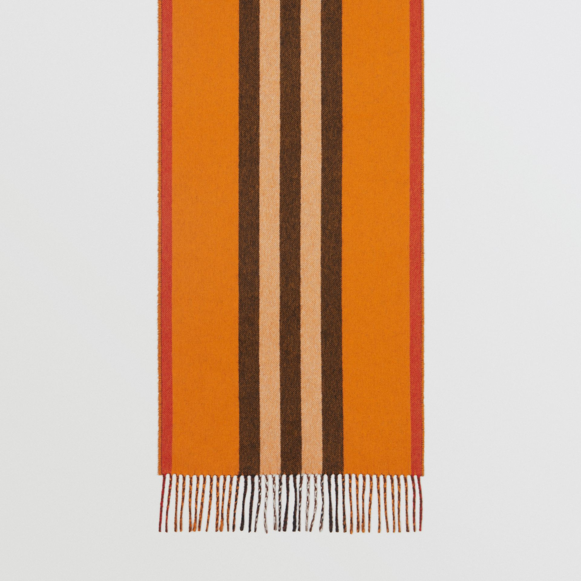 Reversible Icon Stripe Cashmere Scarf in Orange | Burberry United States - gallery image 4