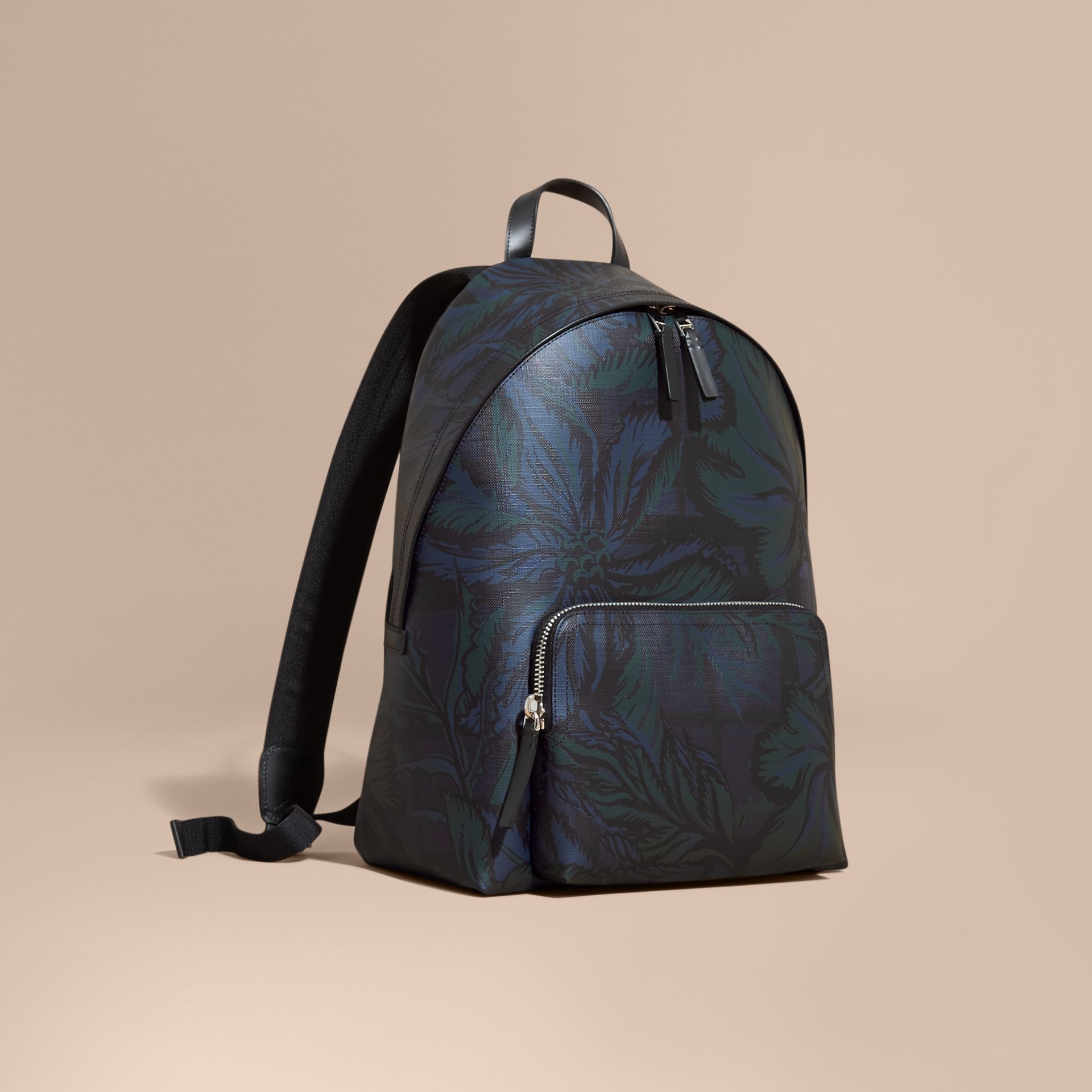 Leather Trim Floral Print London Check Backpack Navy - gallery image 1