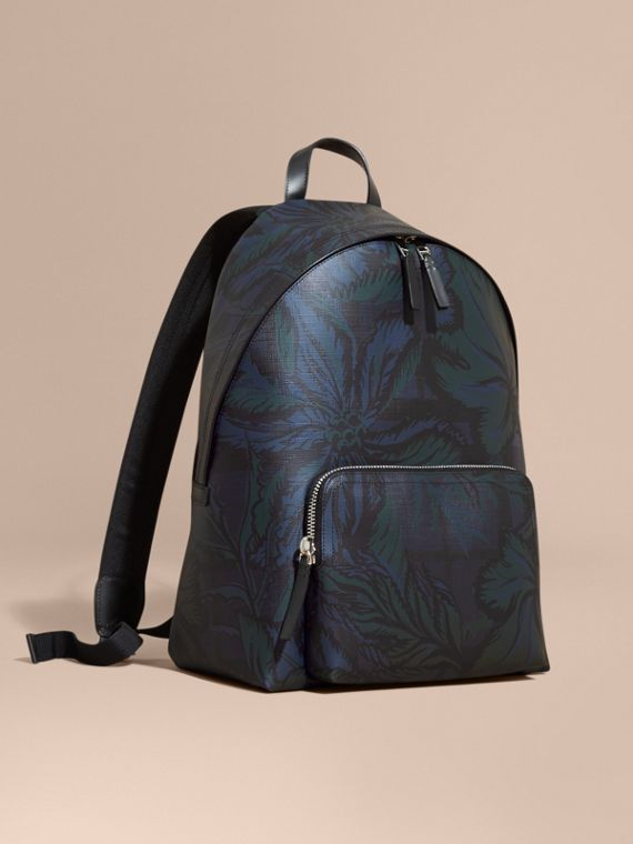 Leather Trim Floral Print London Check Backpack Navy