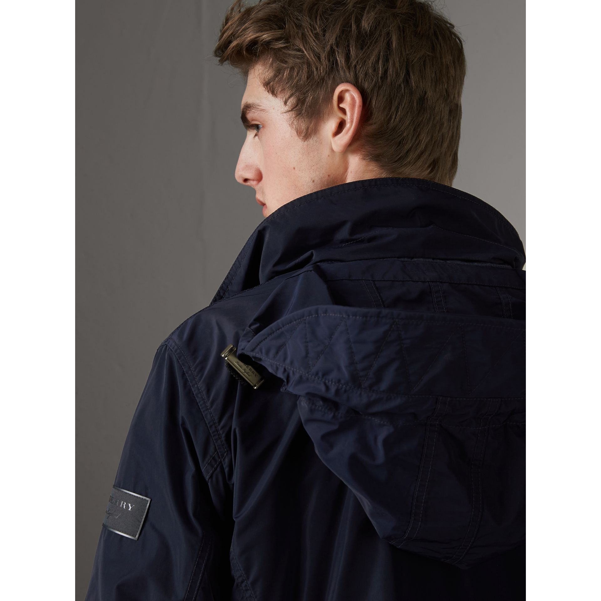 Packaway Hood Showerproof Jacket in Navy - Men | Burberry Australia - gallery image 4