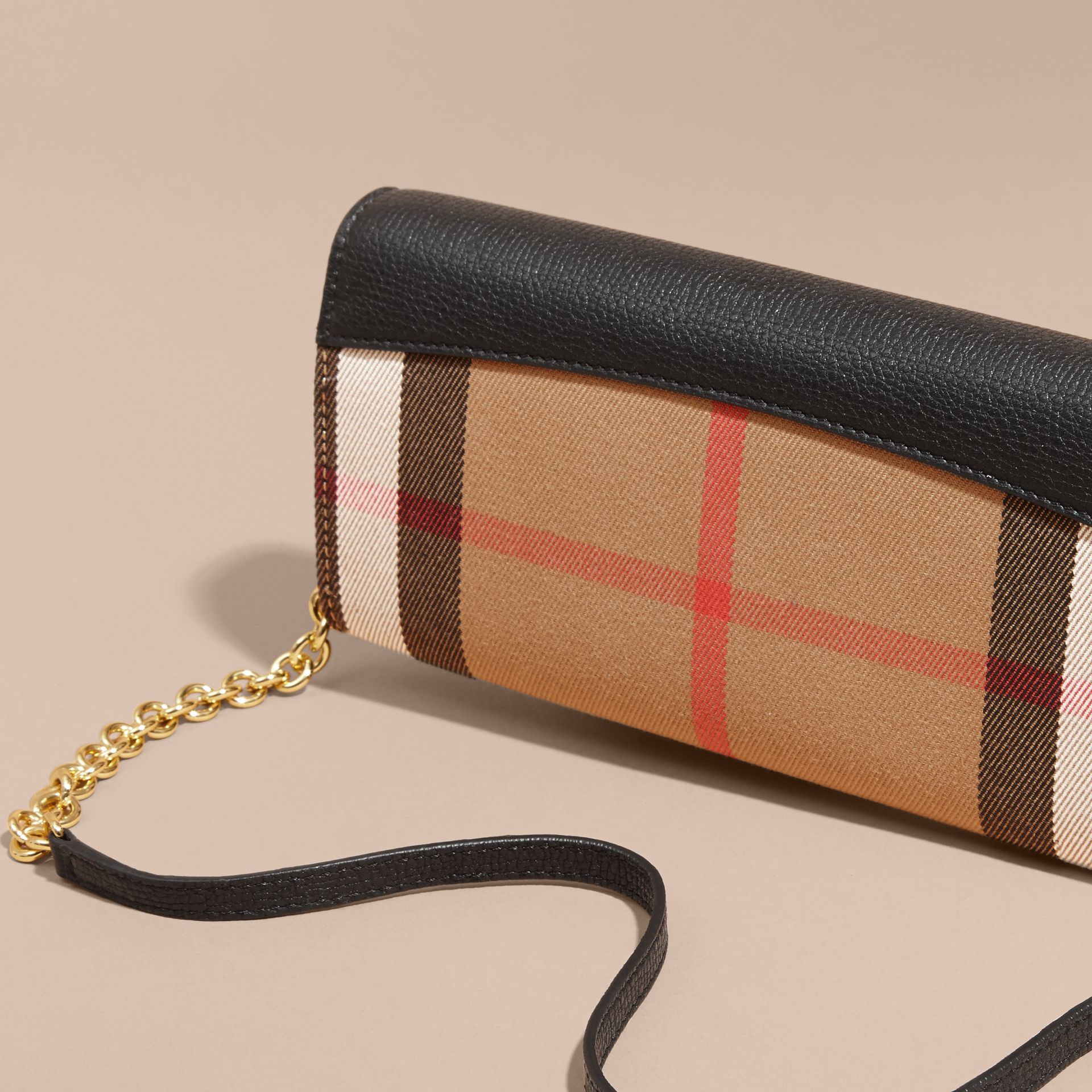 House Check and Leather Wallet with Chain in Black - Women | Burberry - gallery image 5