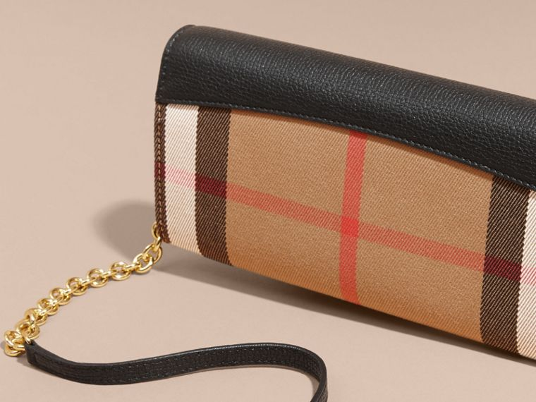 House Check and Leather Wallet with Chain in Black - Women | Burberry - cell image 4