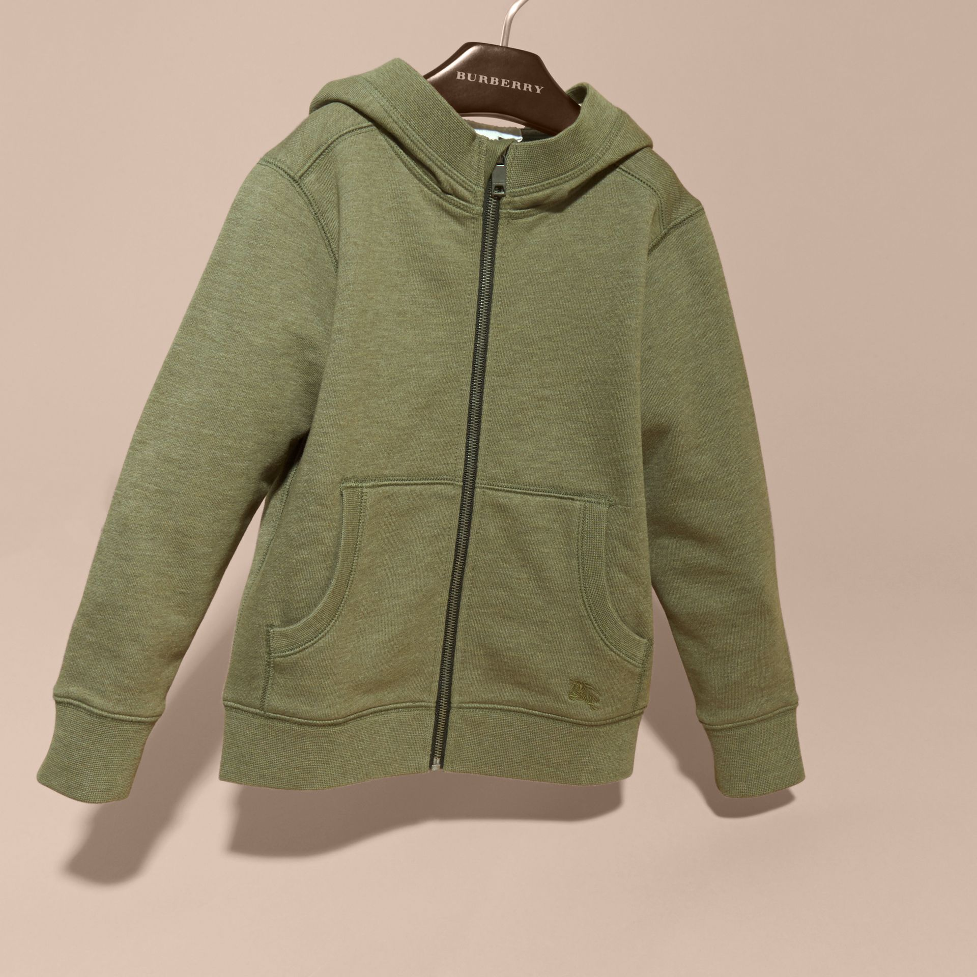 Hooded Cotton Top in Khaki Green Melange - Boy | Burberry - gallery image 3