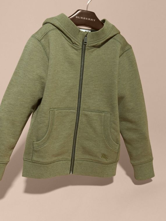 Hooded Cotton Top in Khaki Green Melange - Boy | Burberry - cell image 2