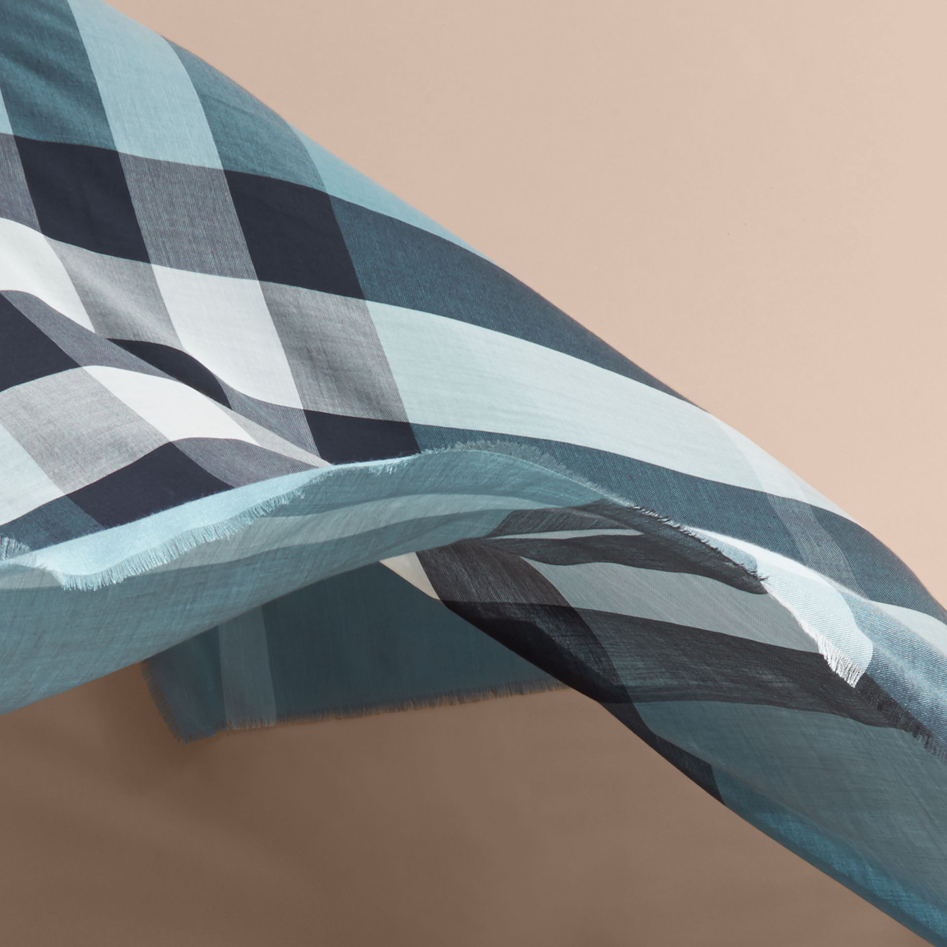 Lightweight Check Silk Modal Wool Square - Large Airforce Blue - gallery image 4