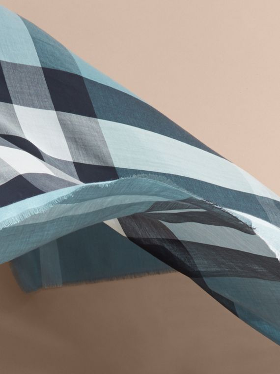 Lightweight Check Silk Modal Wool Square - Large Airforce Blue - cell image 3