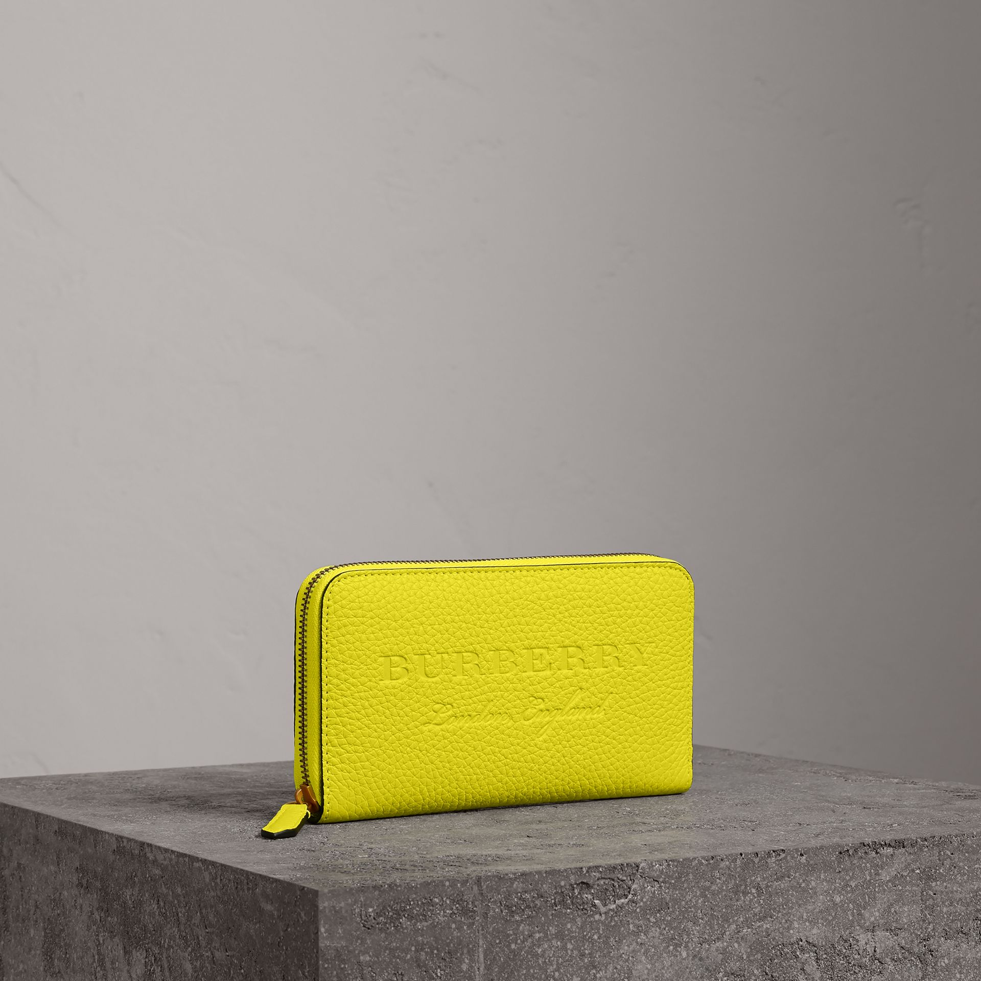 Embossed Leather Ziparound Wallet in Bright Yellow | Burberry - gallery image 0