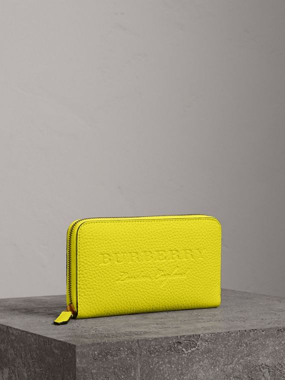 Embossed Leather Ziparound Wallet in Bright Yellow