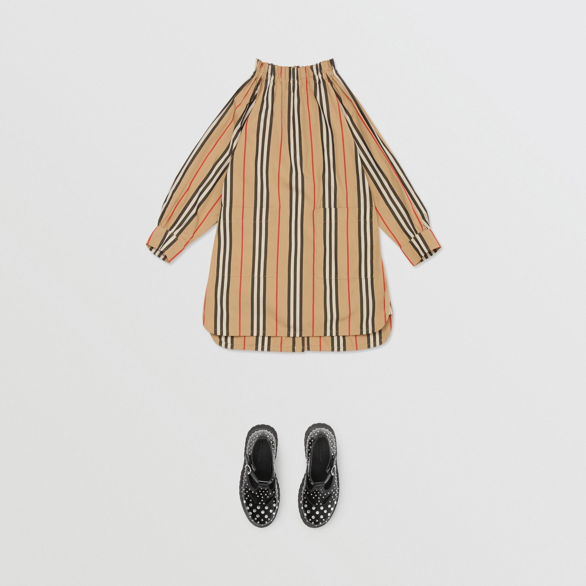 Icon Stripe Cotton Poplin Dress in Archive Beige   Burberry - gallery image 2