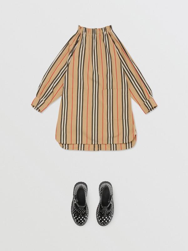 Icon Stripe Cotton Poplin Dress in Archive Beige   Burberry - cell image 2