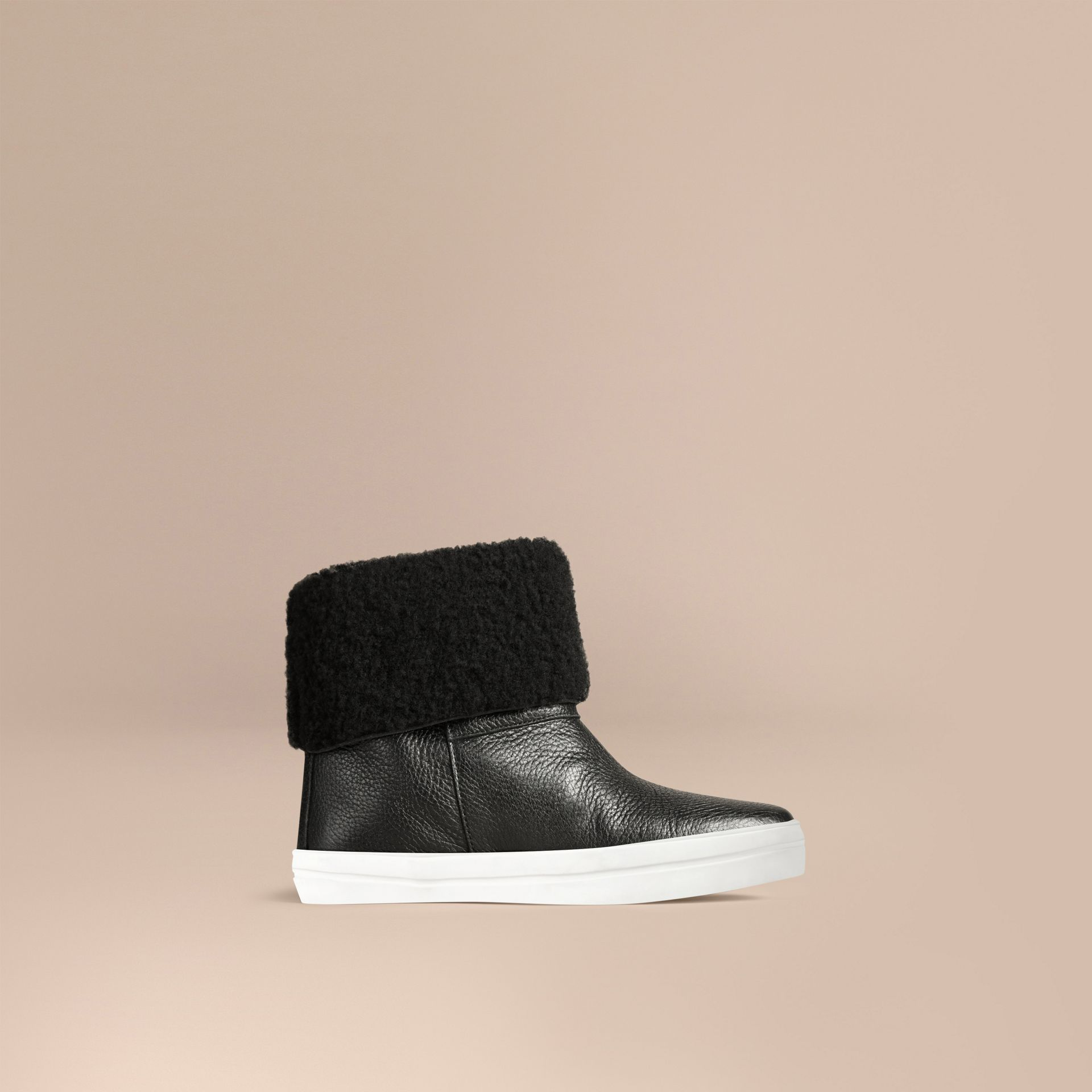 Shearling-lined Grainy Leather Ankle Boots in Black - Women | Burberry United States - gallery image 3