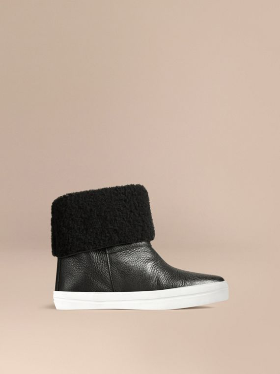 Shearling-lined Grainy Leather Ankle Boots in Black - Women | Burberry - cell image 3