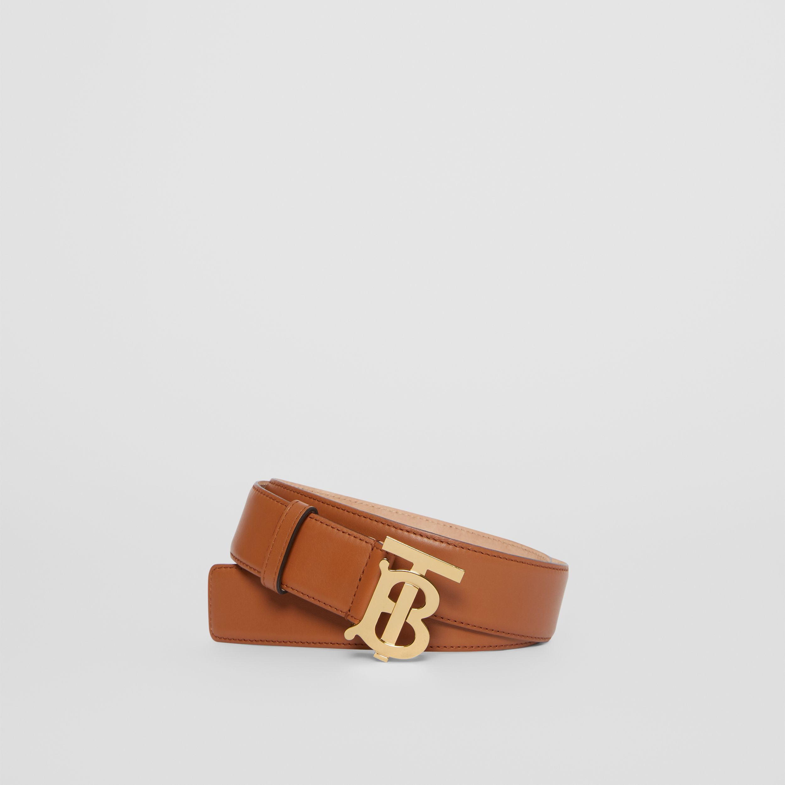 Monogram Motif Leather Belt in Tan - Women | Burberry - 1