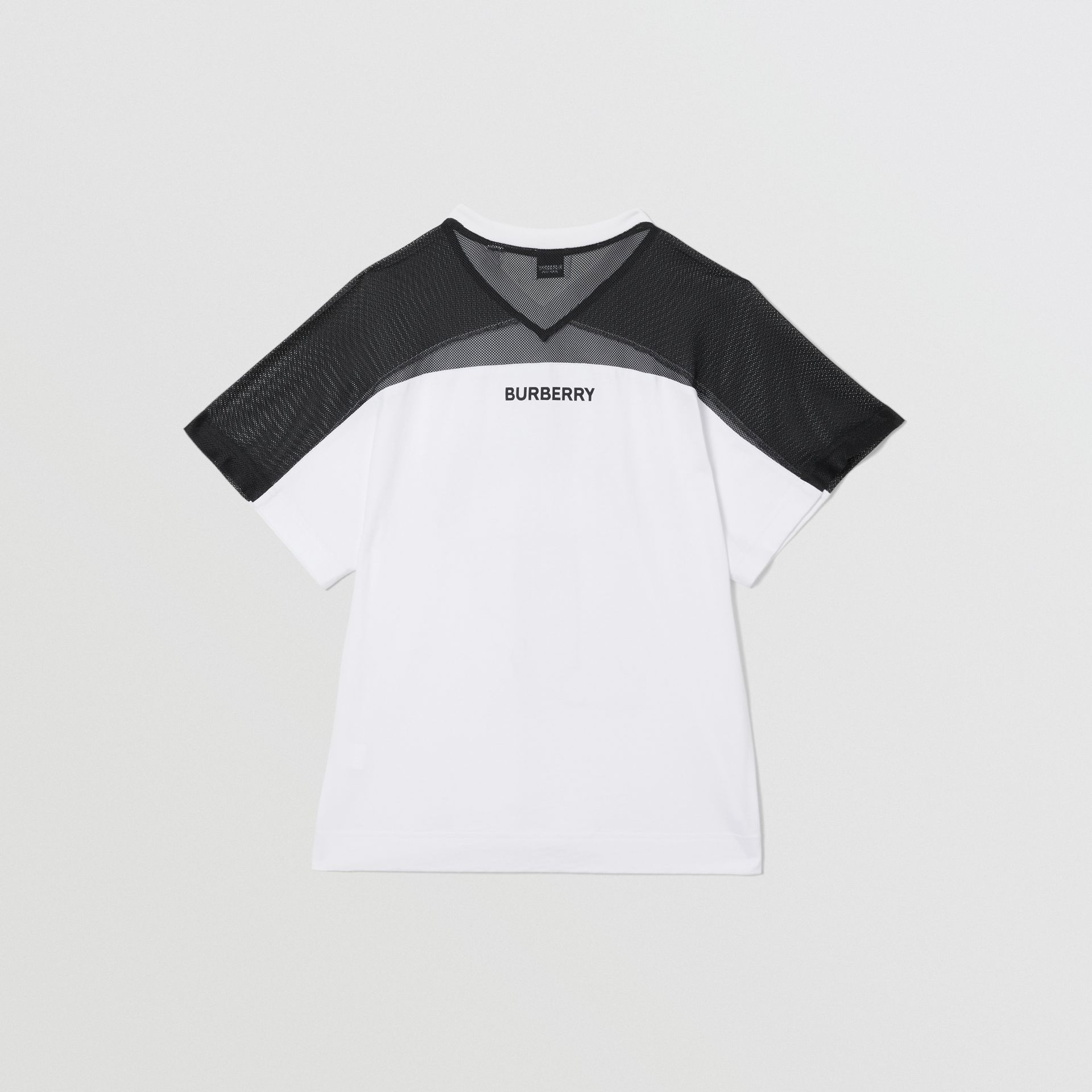 Mesh Panel Kingdom Print Cotton T-shirt in Black | Burberry - gallery image 3