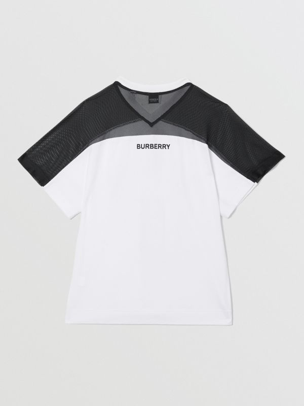 Mesh Panel Kingdom Print Cotton T-shirt in Black | Burberry - cell image 3