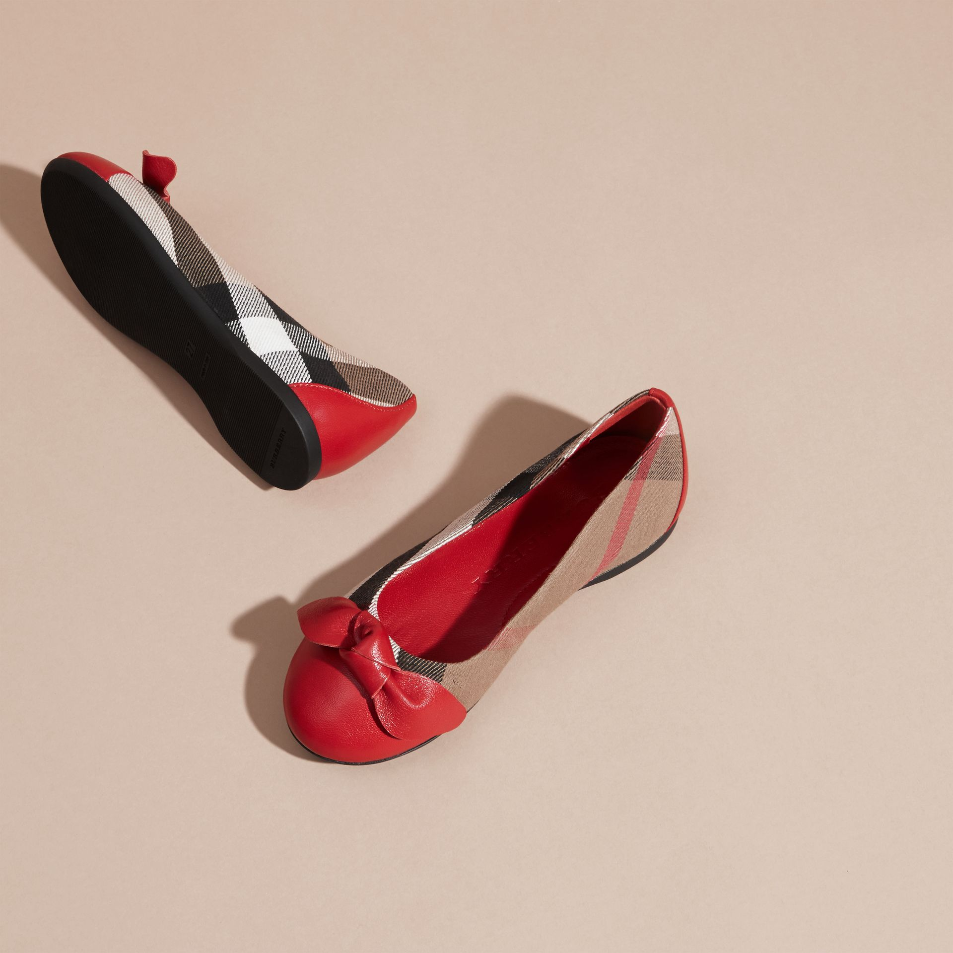 Leather and House Check Ballerinas in Parade Red - Girl | Burberry - gallery image 3