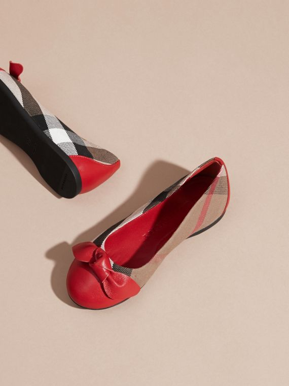 Leather and House Check Ballerinas in Parade Red - Girl | Burberry - cell image 2