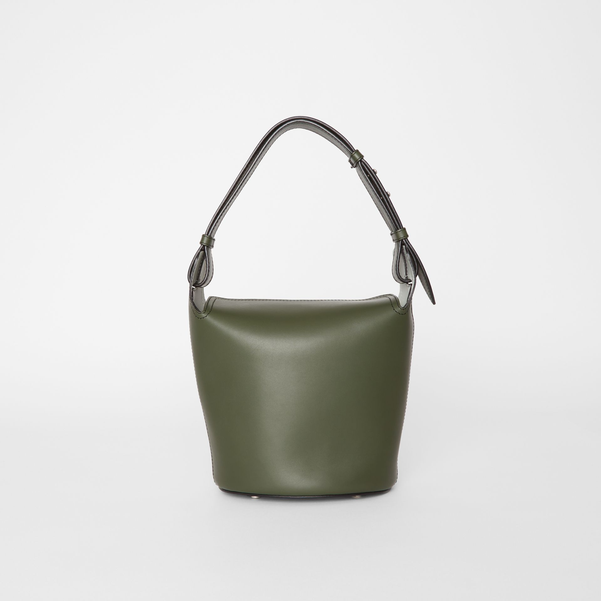 The Small Leather Bucket Bag in Dark Olive - Women | Burberry - gallery image 7