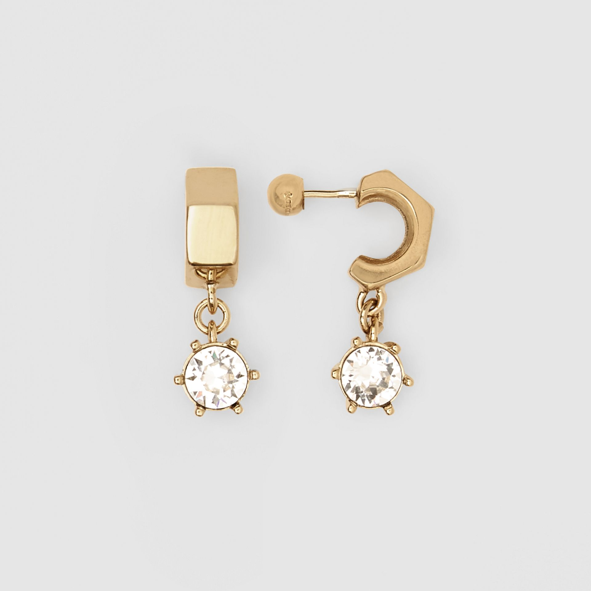 Crystal Charm Gold-plated Nut Earrings in Light - Women | Burberry - gallery image 3
