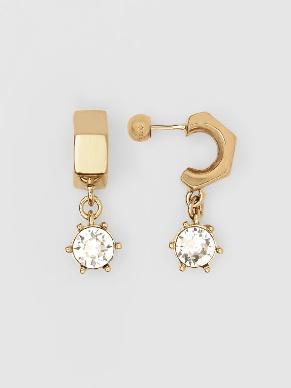 Crystal Charm Gold-plated Nut Earrings in Light - Women | Burberry Singapore - cell image 3
