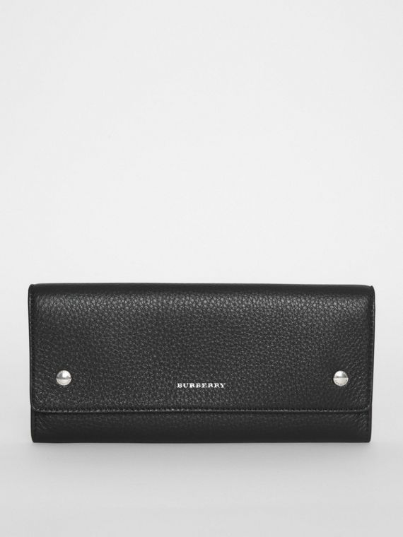 Leather Continental Wallet in Black