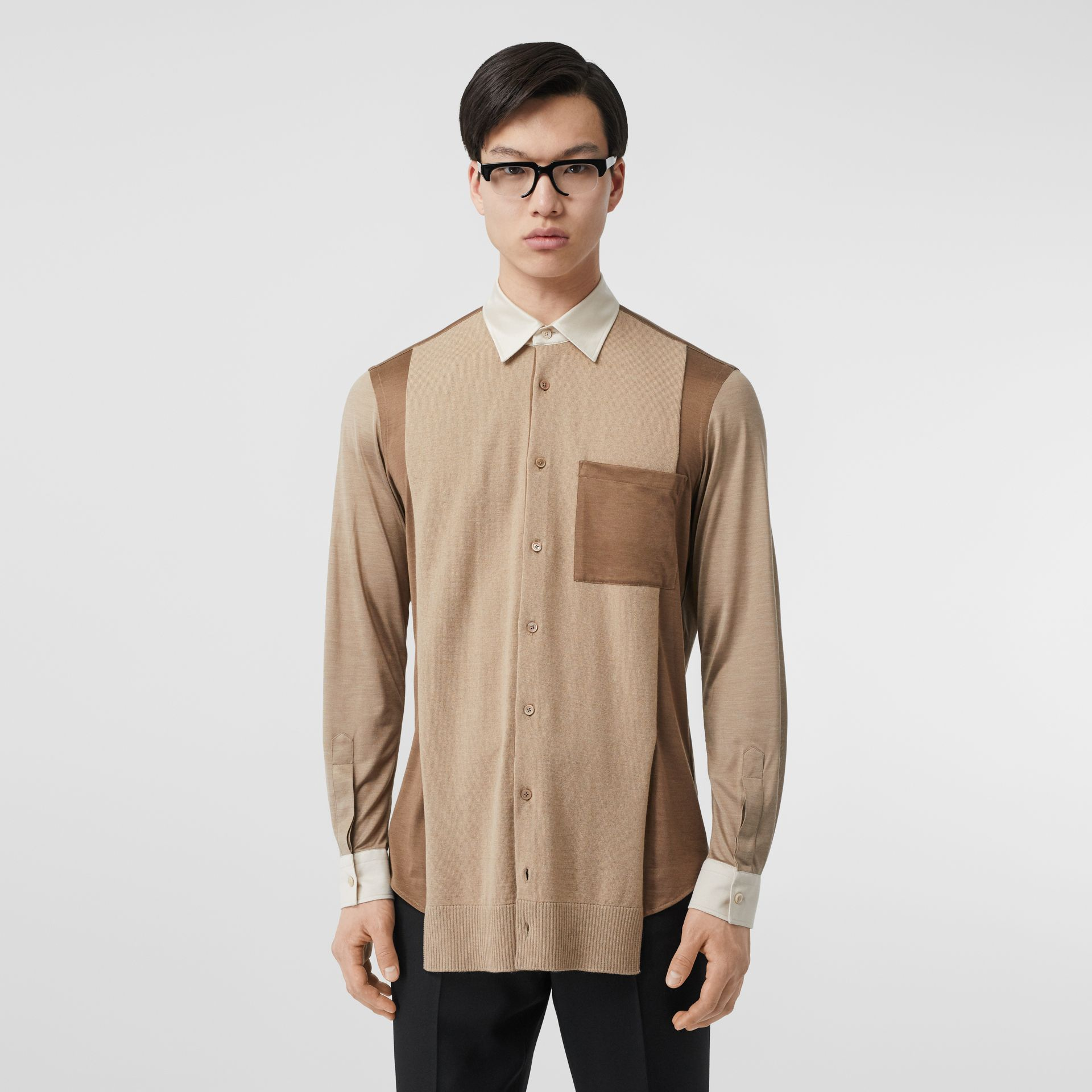 Classic Fit Panelled Silk and Merino Wool Shirt in Warm Camel - Men | Burberry United Kingdom - gallery image 0