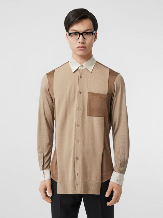 Classic Fit Panelled Silk and Merino Wool Shirt in Warm Camel
