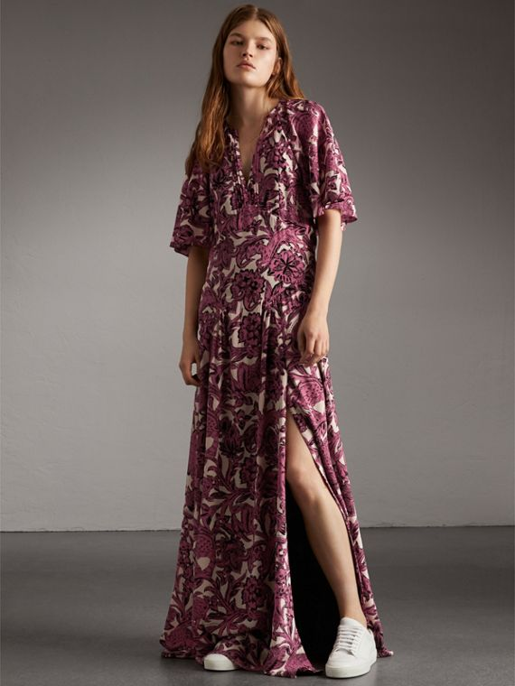 Beasts Print Deep V-neck Silk Longline Dress in Pink Azalea