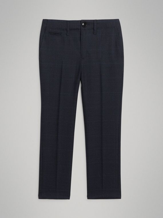 Prince of Wales Check Wool Tailored Trousers in Bright Navy